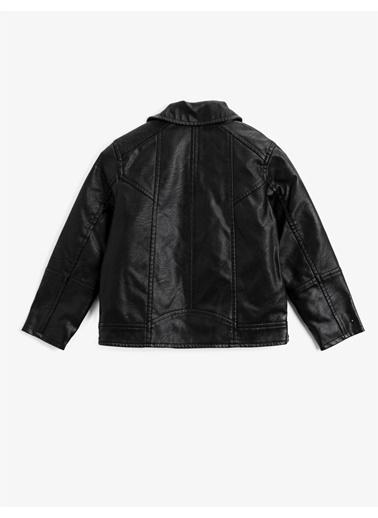 Koton Fermuarli Gömlek Yaka Cepli Suni Deri Ceket Siyah